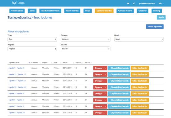eSportics1 eSportics, el software que facilita la organización de tus torneos