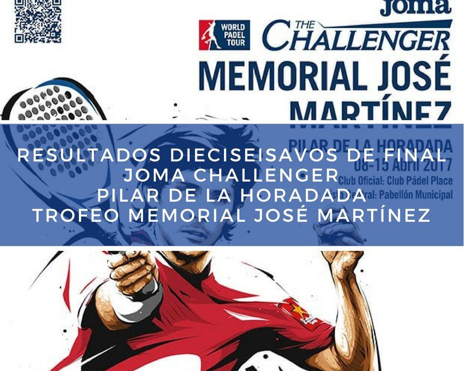 Dieciseisavos Memorial Challenger 2017 Resultados dieciseisavos de final Memorial José Martínez Challenger 2017