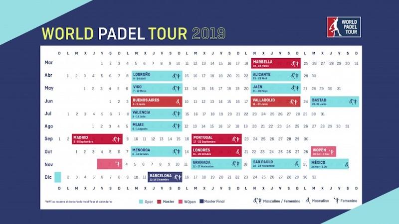 Calendario WPT 2019 Calendario temporada World Padel Tour 2019