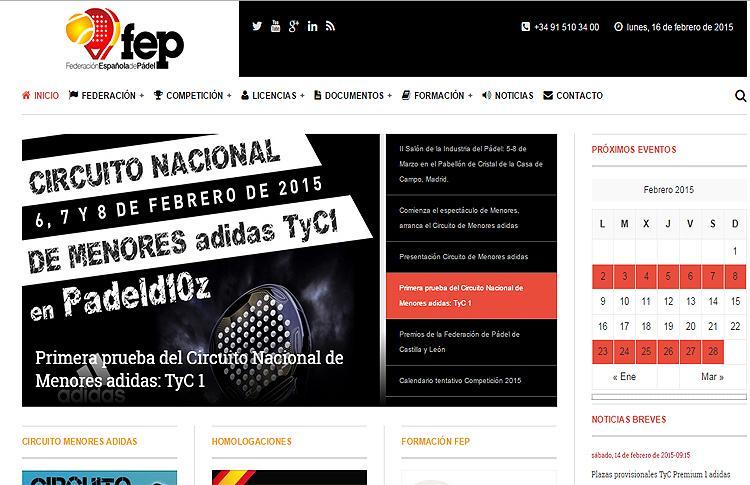 La Federación Española de Pádel nos presenta su nueva página web