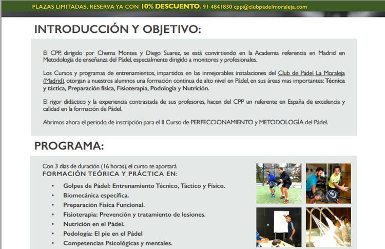 Nuevo Curso del Centro de Pádel Profesional - Club Pádel La Moraleja