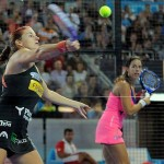 Alejandra Salazar y Marta Marrero, en acción en el Estrella Damm Madrid Open