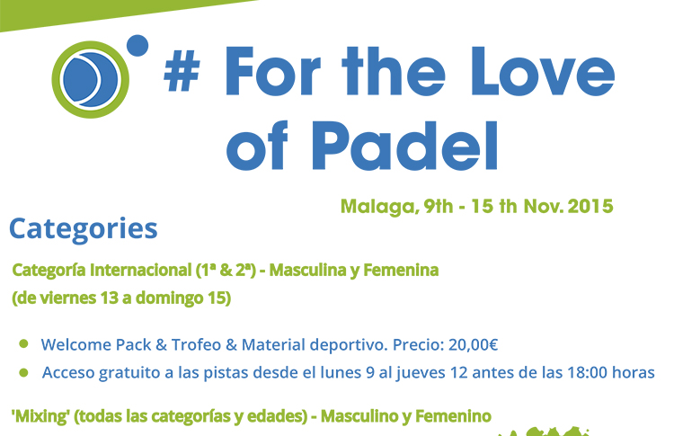 Cartel de actividades For the Love of Padel