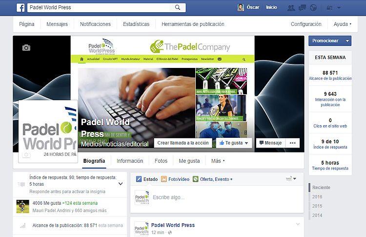 Padel World Press se une al Club de los 4.000 en Facebook