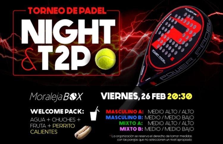 Cartel del torneo de Time2Pádel en las pistas de Moraleja Box
