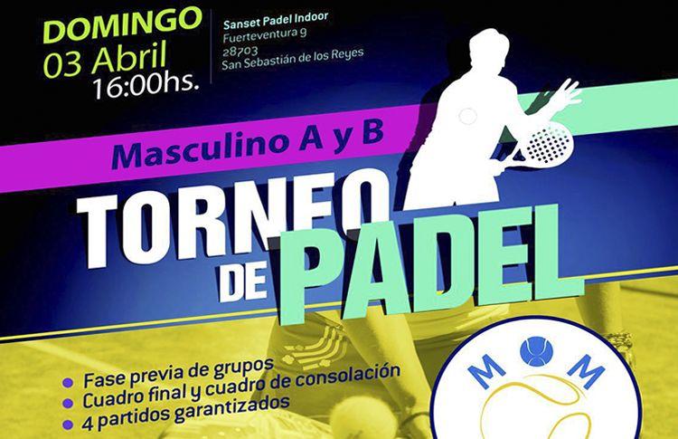 Cartel del próximo torneo de MOM Pádel en Sanset Pádel Indoor
