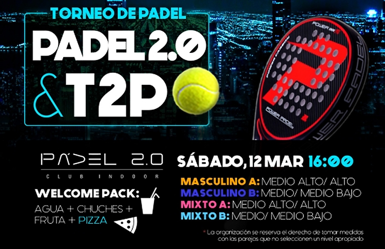 Cartel del Torneo de Time2Pádel en Pádel 2.0
