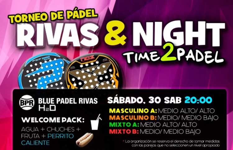 Cartel del Torneo de Time2Pádel en Blue Pádel Rivas