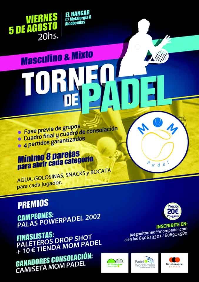 Cartel del torneo de MOM Pádel en El Hangar