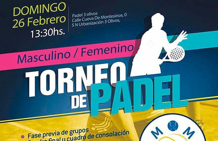 Cartel del torneo de MOM Pádel en el Club Tres Olivos