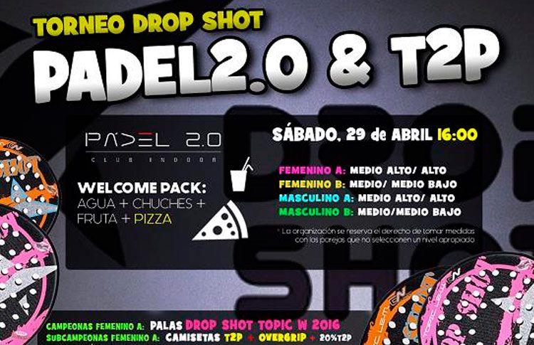 Cartel del Torneo de Time2Pádel en las pistas de Pádel 2.0
