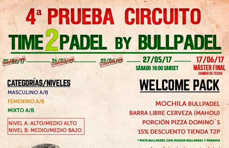 Cartel del torneo de Time2Pádel by Bullpadel
