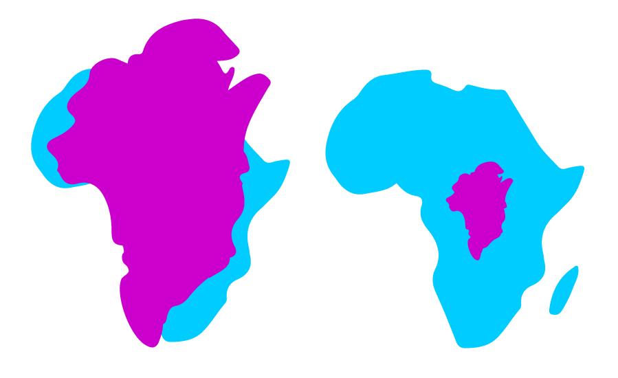 Links: Mercator-Projektion Rechts: Flächentreue Abbildung