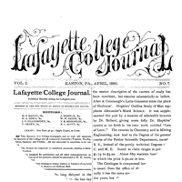 Lafayette College Journal front page