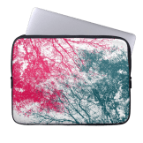 Abstract branches pink green laptop sleeve