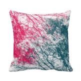 Abstract branches pink green throw pillow