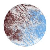 Abstract tree branches burgundy blue plate