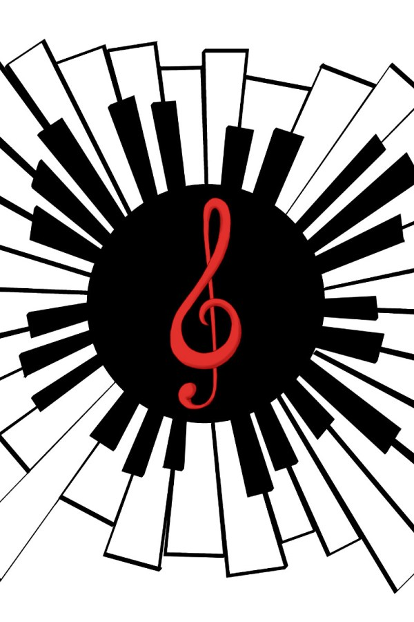 Radiating keyboard and treble clef