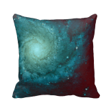 Galaxy photograph red green tints pillow