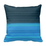 abstract horizontal lines design in blue pillow