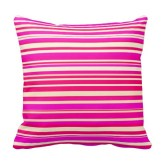 Neon pink and bright yellow horizontal lines pillow