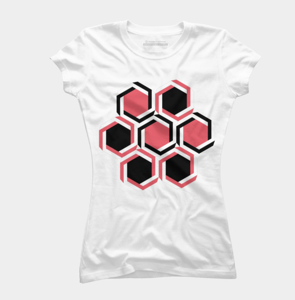 black-and-red-geometric-beehive-tshirt-womens