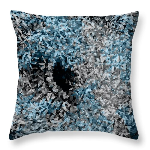 abstract blue and gray floral swirl pillow