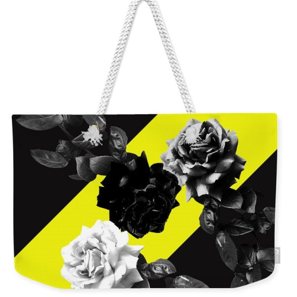 Monochrome roses on yellow bag