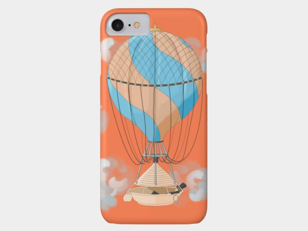 Vintage hot air balloon illustration phone case