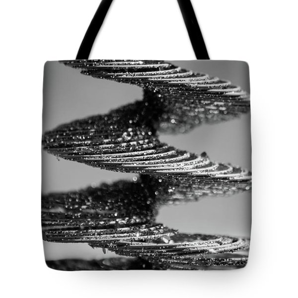 monochrome spiral photograph tote bag
