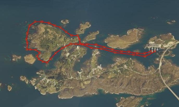 Startet på Jensholmen å rundet Herøy gard