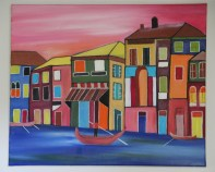 City scape in oil colors