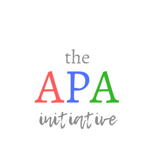 The APA Initiative written on white background in Indian flag colors