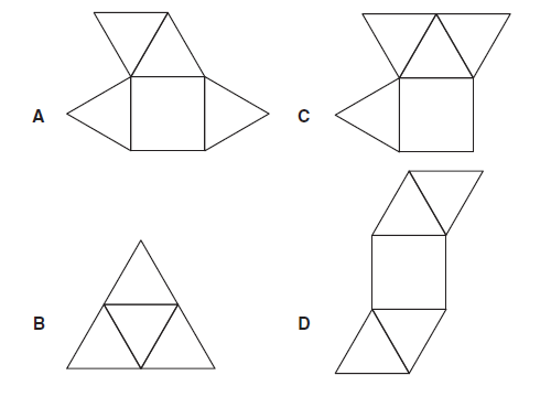 Which net makes a square-based pyramid? Think and answer