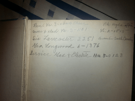 Handwriting in an old cookbook