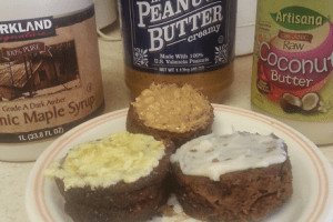 Chocolate Peanut Butter Muffins with Maple Butter