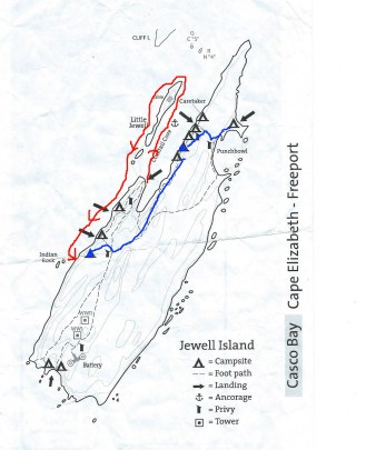 """Blue is early am move Red is paddling from first site back out and down to """"The Wharf"""""""