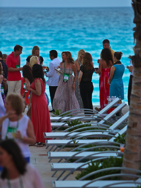 Caribbean Blue and Ladies in Red