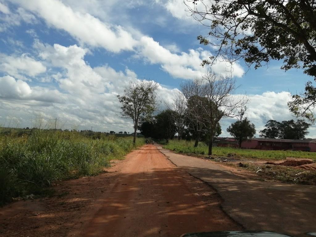 estrada um caminho de terra batida com vegetação a volta da estrada.