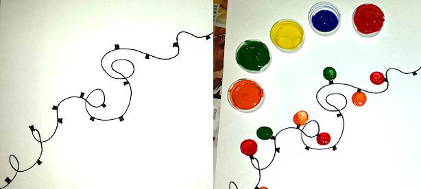 Manualidad luces de navidad con pinturas