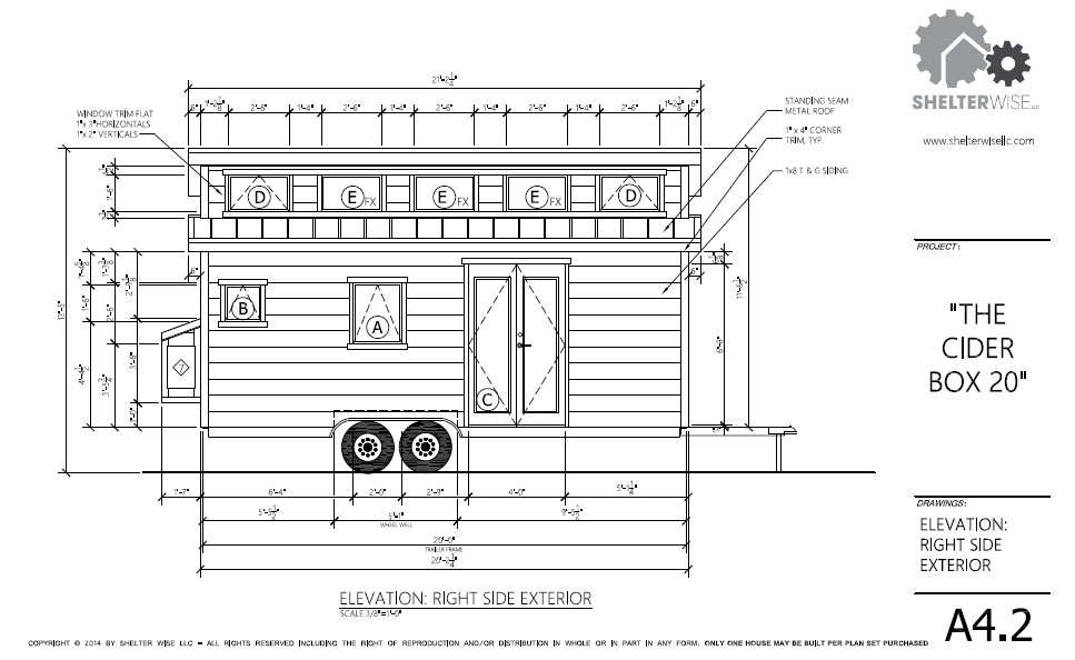 copyright architectural drawings and diagram bt wall socket wiring the cider box modern tiny house plans for your home on wheels plan sample page suggested floor