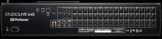 PreSonus StudioLive 64S back panel. Click for larger image.