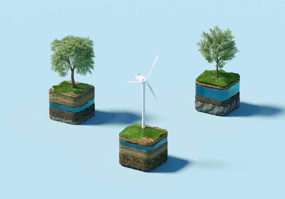 Windrad und Bäume