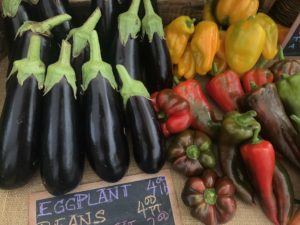 Eggplants peppers vegetables