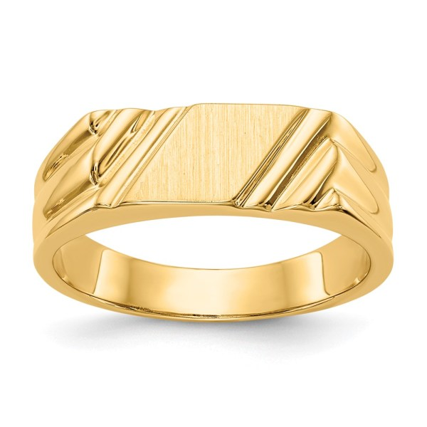 Men's 14 kt. yellow gold signet ring that measures 5.5 mm X 5.5 mm and is accented by diagonal grooves. This signet ring has an open back and with a satin and polished finish. This signet ring is engravable