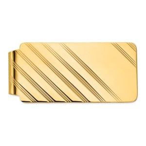 14kt. yellow gold, 55 mm X 26 mm, rectangular, money clip with a diagonal striped design and a polished finis