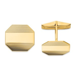 14 kt. yellow gold, 16 mm X 17 mm Octagon shaped, cuff links with a polished finish.