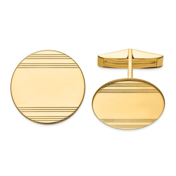 14 kt. yellow gold, 20 mm round, cuff links with a polished finish.