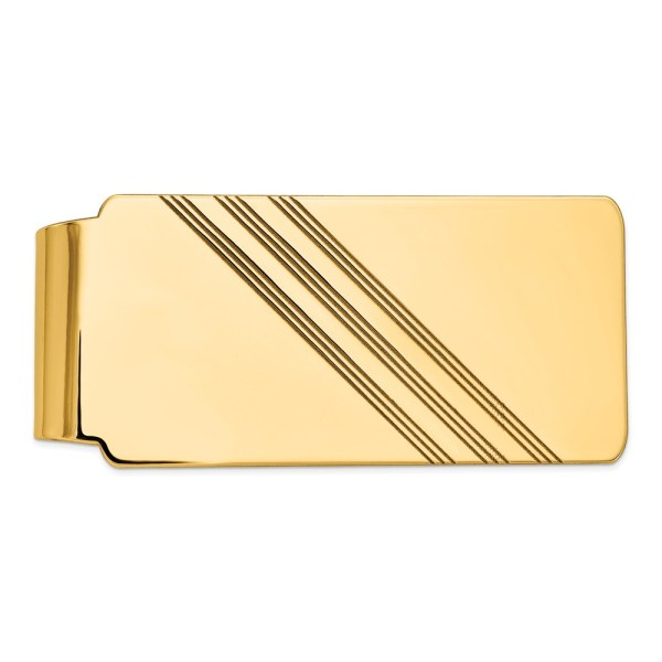 14 kt. yellow gold, 55 mm x 26 mm, rectangular, money clip, accented by three sets of centered diagonal stripes and a polished finish.