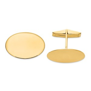 14 kt.yellow gold, 23 mm X 17 mm oval cuff links with a polish finish.